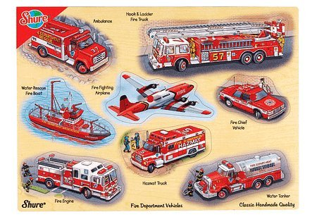 Cheap Fun Shure Fire Department Vehicles Wooden Pegged Puzzle (B003A0WE7O)