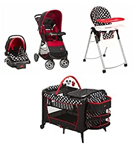 Amazon.com : 4 Piece Mickey Mouse Newborn Set Stroller Car ...