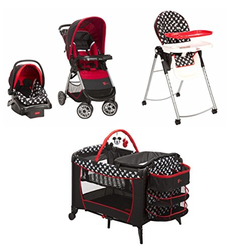 4-Piece-Mickey-Mouse-Newborn-Set-Stroller-Car-Seat-High-Chair-Play-Yard-Bundle-Baby-Gear-Boy-Infant-Disney