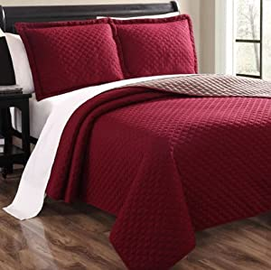 Bedding sets-Luxurious 3 Piece Bedding Quilt Set Bed Sheets-Size Queen-Color-Cressidia Red-1 quilt and 2 pillow shams-Quilts-comfortable and ultra-soft & silky which ensures your body and mind get a peaceful sleep all night long-GUARANTEED!