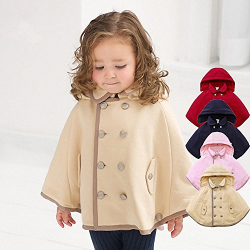 Double-breasted Cashmere Baby Cape Cloak Velvet with Hooded Cloak