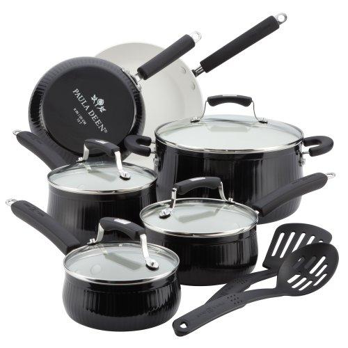 Paula Deen Savannah Collection Aluminum Nonstick 12-Piece Nonstick Cookware Set, Black