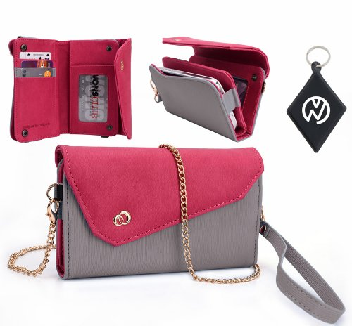 Huawei Ascend (Fits Most Huawei Ascend Including: D Quad, D Quad Xl, D1, D1 Xl ) Wallet Crossbody Wristlet Clutch With Id, Credit Card And Money Compartments. Includes One Detachable Chain And Arm Strap. Color: Grey Magenta + Nuvur ™ Keychain