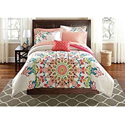 Mainstays Medallion Bedding in a Bag Bedding Set, QUEEN
