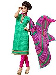 STYLE N DEAL Women's Chanderi Cotton Unstitchced Dress Material (305D1007_Green_Free Size )
