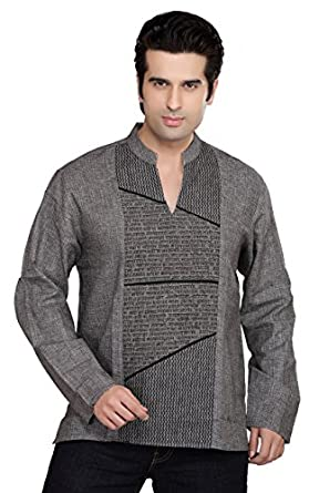 Indian Clothing Men's Kurta Tunic Banded Collar Decorative Front Shirt