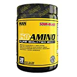 MAN Sports ISO-AMINO BCAA Amino Acid Powder, Sour Blast, 30 Servings, 210 Grams