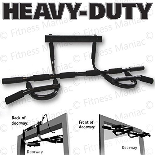 Heavy Duty Doorway Chin Pull Up Bar Exercise Fitness Gym Home Door Mounted Sport (Balck Grips) (Handles For Door Bar Gym compare prices)