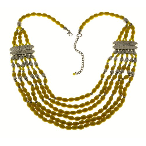 Party Yellow Necklace Fashion Artisan Crafted Costume Jewelry from India