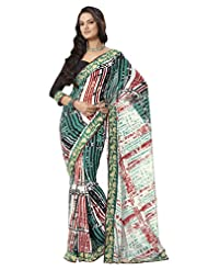 Prafful Gorgette Printed Saree With Unstitched Blouse - B00KNUPXL8