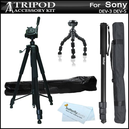 Triple Tripod Accessory Bundle Kit For Sony Dev-3, Sony Dev-5 Digital Recording Binoculars Includes 67 Inch Pro Tripod W/ Case + 67 Inch Monopod W/ Case + 10 Gripster Flexible Tripod