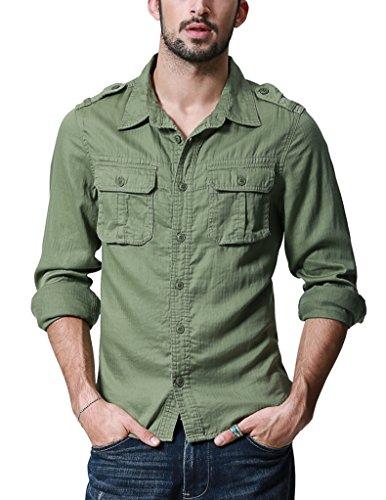 (マッチスティック)Matchstick メンズ ミリタリー 長袖 ミリタリーシャツ #G2217(2XL,アーミーグリーン)
