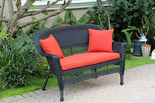 Black Wicker Patio Love Seat With Red Orange Cushion And Pillows