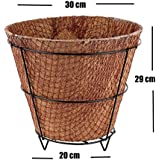 MyFashionStyle Eco Friendly Square Coconut Coir Pot With Metal Stand - 12 Inch Dia - Pack Of 1