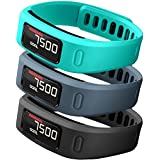 SKYLET Garmin Vivofit Replacement Bands With Metal Clasp 2 Secure Silicon Fastener Rings For Free No Tracker Black... - B01GG4SEB0
