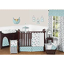 Sweet Jojo Designs Turquoise Blue and Gray Earth and Sky Birds Nature Girl or Boy Baby Bedding 11 Piece Crib Set without bumper