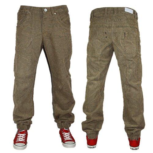 Mens Sand Cru 10 Jeans CD300 Designer Tapered Cuffed Corduroys Size W28 L32