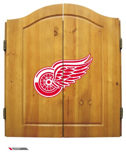 Nhl Detroit Red Wings Team Dartboard Cabinet Set