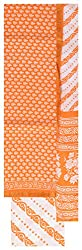 Shop in Style Women's Cotton Unstitched Dress Material (Orange and White)