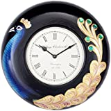 """Home And Bazaar Traditional Wall Clock Peacock Painting 12"""" Diameter, 6"""" Dial"""