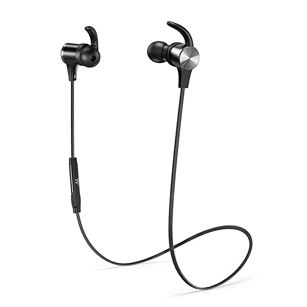 Bluetooth Headphones TaoTronics Wireless 5.0 Magnetic Earbuds Snug Fit for Sports with Built in Mic TT-BH07 (IPX6 Waterproof, aptX Stereo, 9 Hours Playtime) - Upgraded Version (Color: Black)