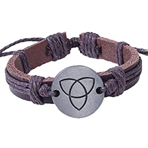 Modern Fantasy Retro Style Weave Adjustable Coin Christmas Handmade Geometric Icon Triangle Tour Brown Metal Leather Bracelet