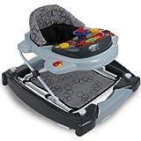3IN1 Lauflernhilfe mit Spielcenter (12 Melodien) Gehfrei Gehhilfe Baby Walker Babyschaukel (Schwarz/Grau)