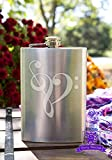 Music Note Heart 8 Ounce Stainless Steel Flask
