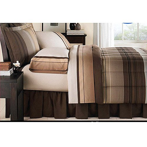 Brown Tan Stripe Plaid Ombre Comforter and Sheets Bed in a bag