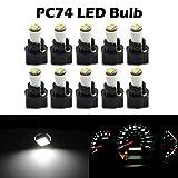 Partsam 10Pack White Twist Socket T5 73 74 led 3528 SMD Instrument Cluster Dash Light