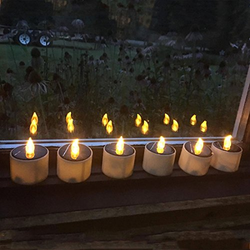 TBW Electronic Solar Power LED Lamp Nightlight Amber Flickering Flameless Candles for Outdoor Camping Emergency Indoor Party Decoration - 12pcs (Solar Powered Window Candles compare prices)