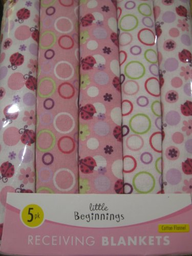 Little Beginnings Baby Girl Lady Bug 5 Pk Receiving Blankets - 1