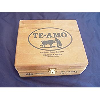 Vintage Te Amo Hinged Dovetailed Wooden Cigar Box - Mexico Single Empty