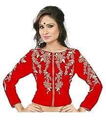 Drapme round Neck Red Velvet Embroidery Jacket Blouse