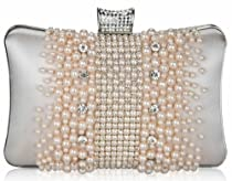 "Champagne Gold Crystal and Pearl Sparkling Hard Cased Prom Bridal Party Glamorous Evening Clutch Bag (8"" x 5"") with PreciousBags Dust Bag"