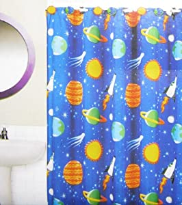 "Outer Space Printed Fabric Shower Curtain & Resin Hook Set, 12-Piece, 70"" x 72"""