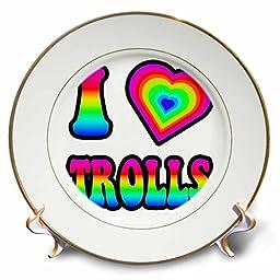 3dRose cp_217525_1 Groovy Hippie Rainbow I Heart Love Trolls-Porcelain Plate, 8\