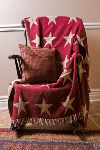 "Burgundy Star 50X60"" Jacquard Woven Throw Quilt"
