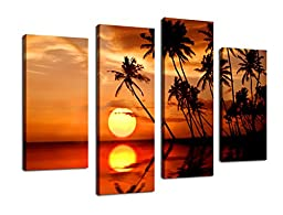 Canvas Wall Art Sunset Sea with Coconut Tree on Beach Framed and Ready to Hang - 4 Panel Large Summer Seascape Painting Giclee Prints Fine Art Reproductions for Home and Office Decoration