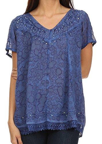 Sakkas Charlotte ricamate paillettes accenti e camicetta per le donna per le donna, Blu Marina, One Size Regular