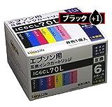 【Luna Life】 エプソン用 IC6CL70L 互換インクカートリッジ ブラック1本おまけ付き 7本セット 高品質 経済的 安心の1年保証 LN EP70/6P BK+1