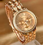 Geneva Watch Fashion Women Rhinestone Watches Full Steel Analog Casual Gold Wristwatches Hours Clock Relogio Reloj Quartz Watch (Rose Gold)