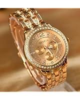 Geneva Watch Fashion Women Rhinestone Watches Full Steel Analog Casual Gold Wristwatches Hours Clock Relogio Reloj Quartz Watch (Rose Gold)