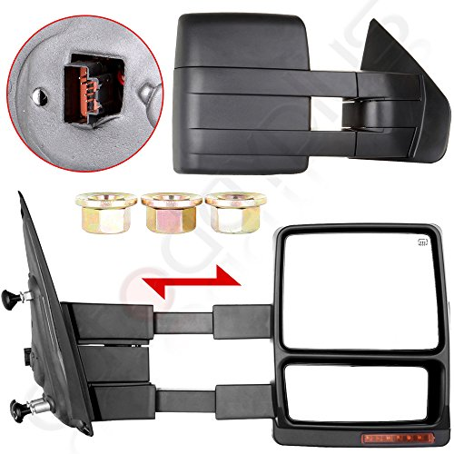 Autodayplus Fit 2007-14 Ford F150 Truck Driver/Passenger Side Mirror Power Heated Turn Signal Puddle Light Towing Mirrors Pair (2011 F150 Tow Mirrors compare prices)