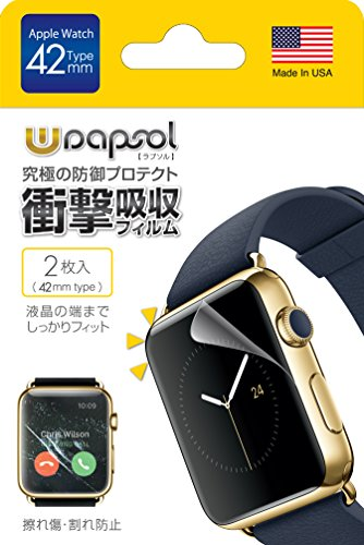 Amazon.co.jp|Wrapsol(ラプソル)擦れ傷・割れ防止 衝撃吸収フィルム Apple Watch対応【2枚入り】(42mm) A005-IWC42|家電・カメラ通販