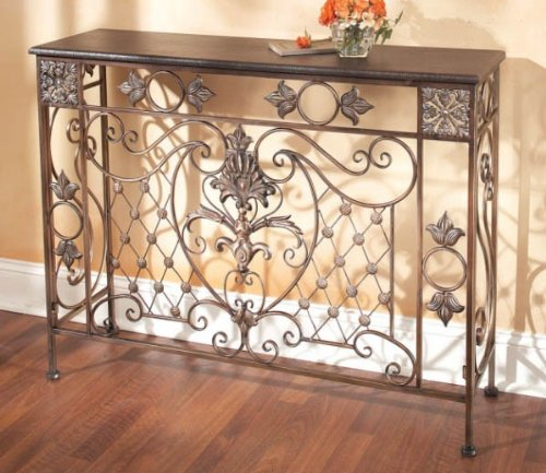 Cheap Entryway Console Sofa Table Leatherette Top in Old Gold (B002RRMTHQ)