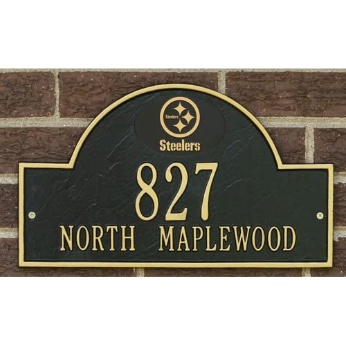 com: Pittsburgh Steelers Black & Gold Personalized Address Plaque-wall