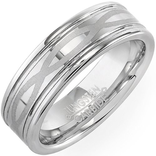 tungsten carbide mens ladies unisex ring wedding band 7mm high polish celtic laser etched infinity comfort fit available in sizes 8 to 12 size 9