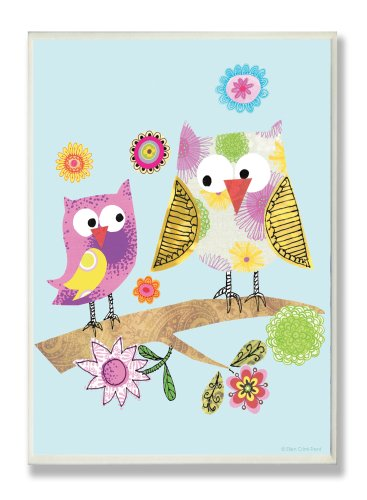 The Kids Room by Stupell Whimsy Multicolor Owls on a Branch Rectangle Wall Plaque