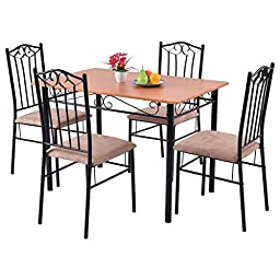 Gracelove 5 PC Dining Set Wood Metal Table and 4 Chairs Kitchen Breakfast Furniture
